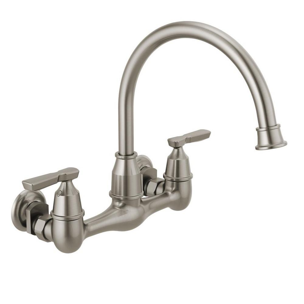 Delta corin handle wallmount kitchen faucet in stainless wall