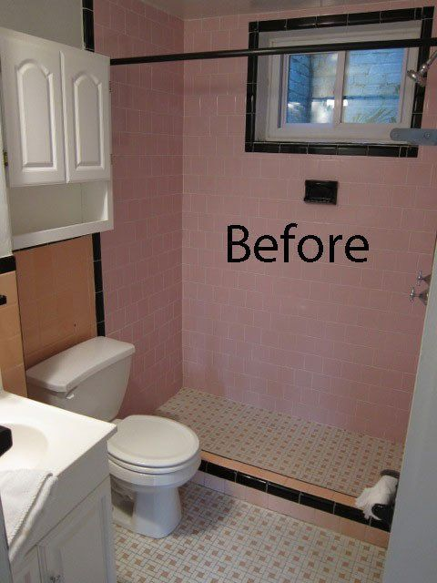before after a bathroom goes from pinky peach to sleek and chic