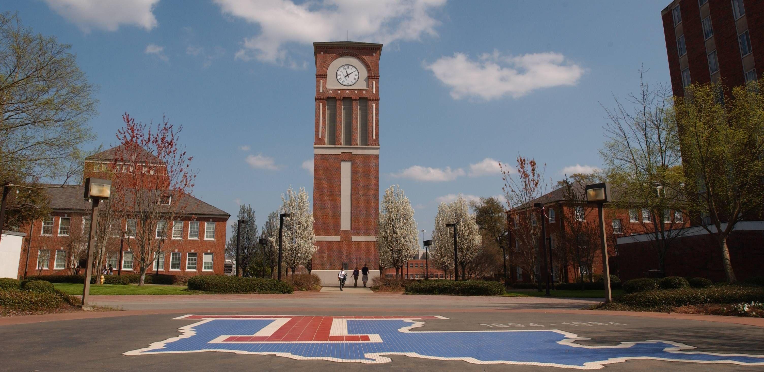 Louisiana Tech Bulldogs campus entrance with clock tower