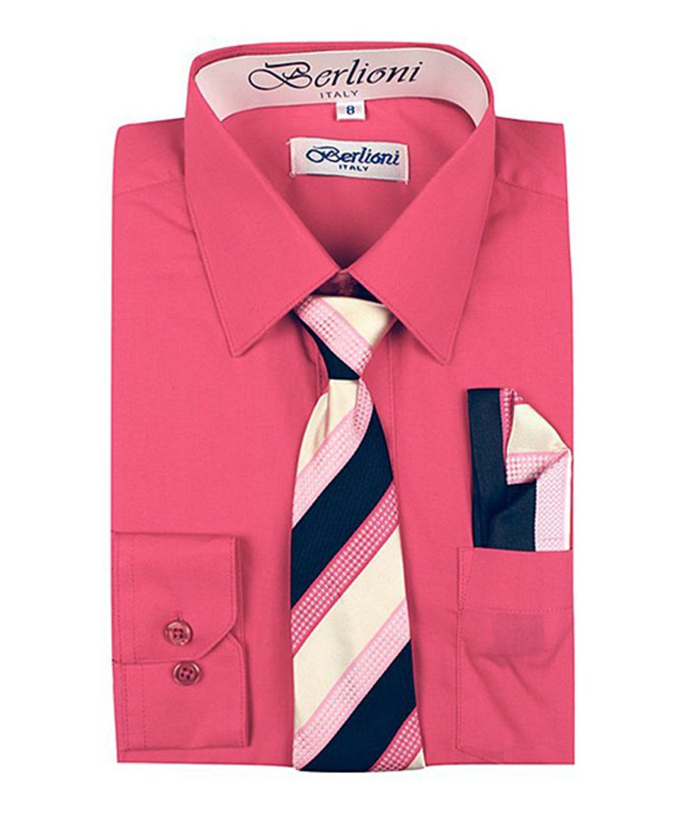 Casual pink dress shirt  Take a look at this Coral ButtonUp u Fuchsia Stripe Tie Set