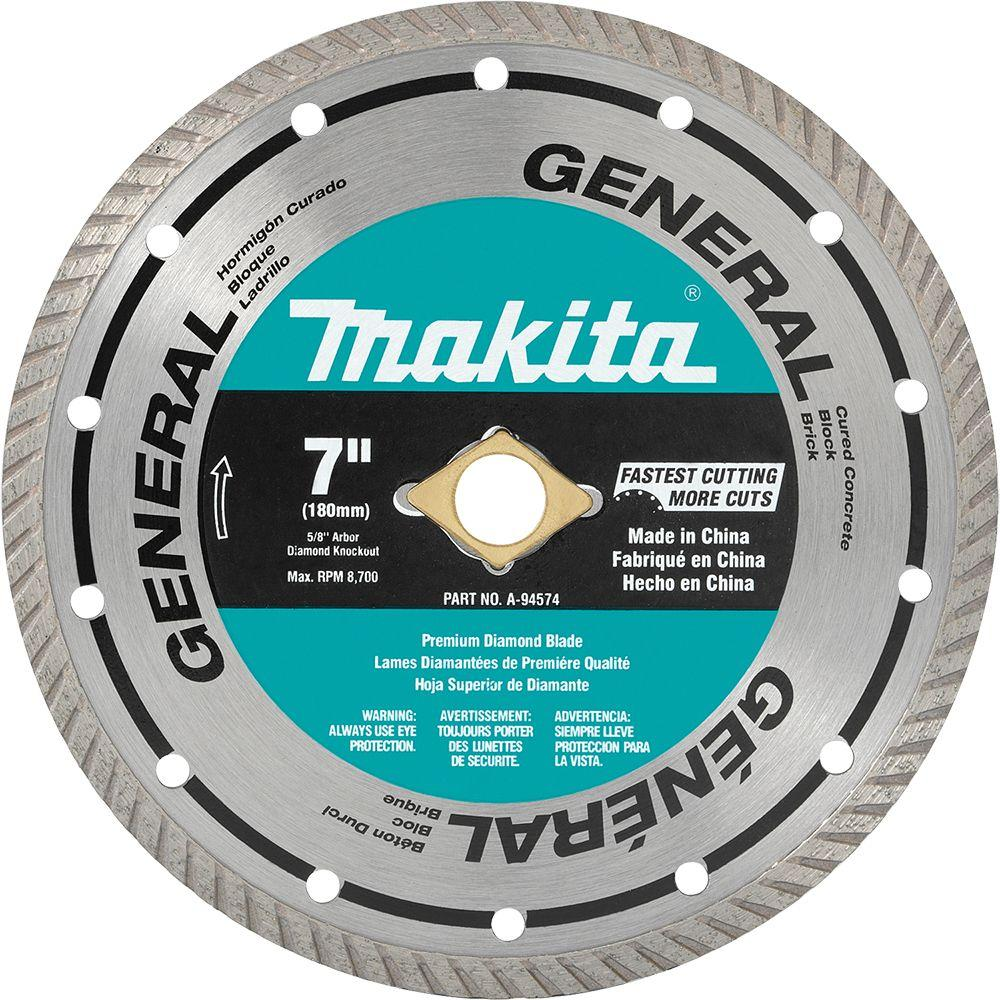 Makita 7 In Turbo Rim General Purpose Diamond Blade A 94574 The Home Depot Diamond Blades Makita Diamond Saw Blades