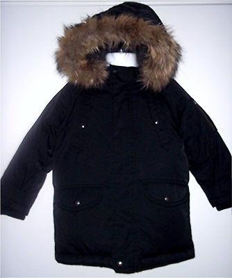 Baby Gap Boy Black Warmest Winter Down Coat Hooded Fur