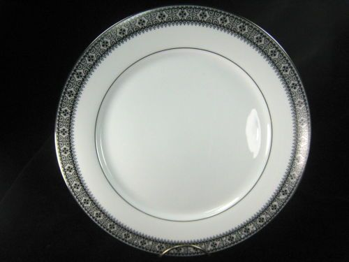 On Sale Noritake Ivory China 10.5 inch Rothschild  Platinum Rim DinnerChop Plate with Ivory and Baroque and Blue Band Design