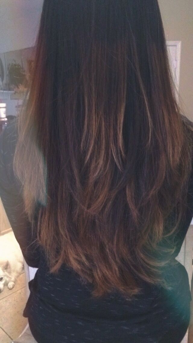 Semi Ombre With Strawberry Blonde Caramel Highlights On Dark Brown
