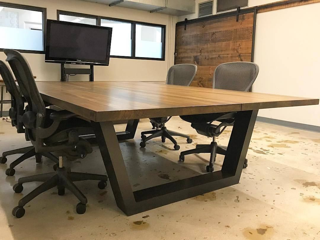6ft Wide And 10ft Long This Conference Table Is Sitting Pretty With One Of Our Carved Barndoors To See More O Boardroom Furniture Furniture Conference Table