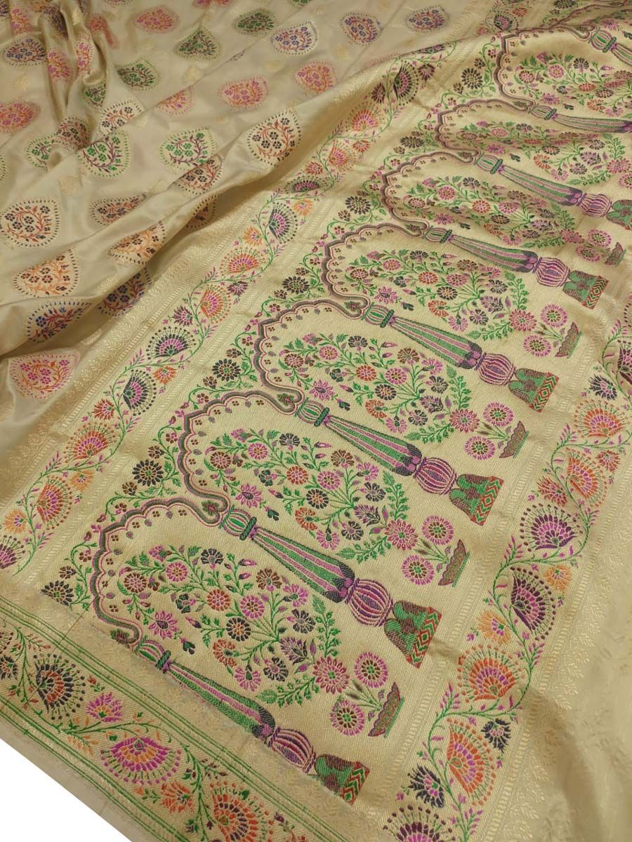 Yellow Jacquard fabric Handmade fabric Handloom fabric Indian Cotton fabric Floral Design Fabric Banarasi Wedding ArtSilk Cutwork fabric