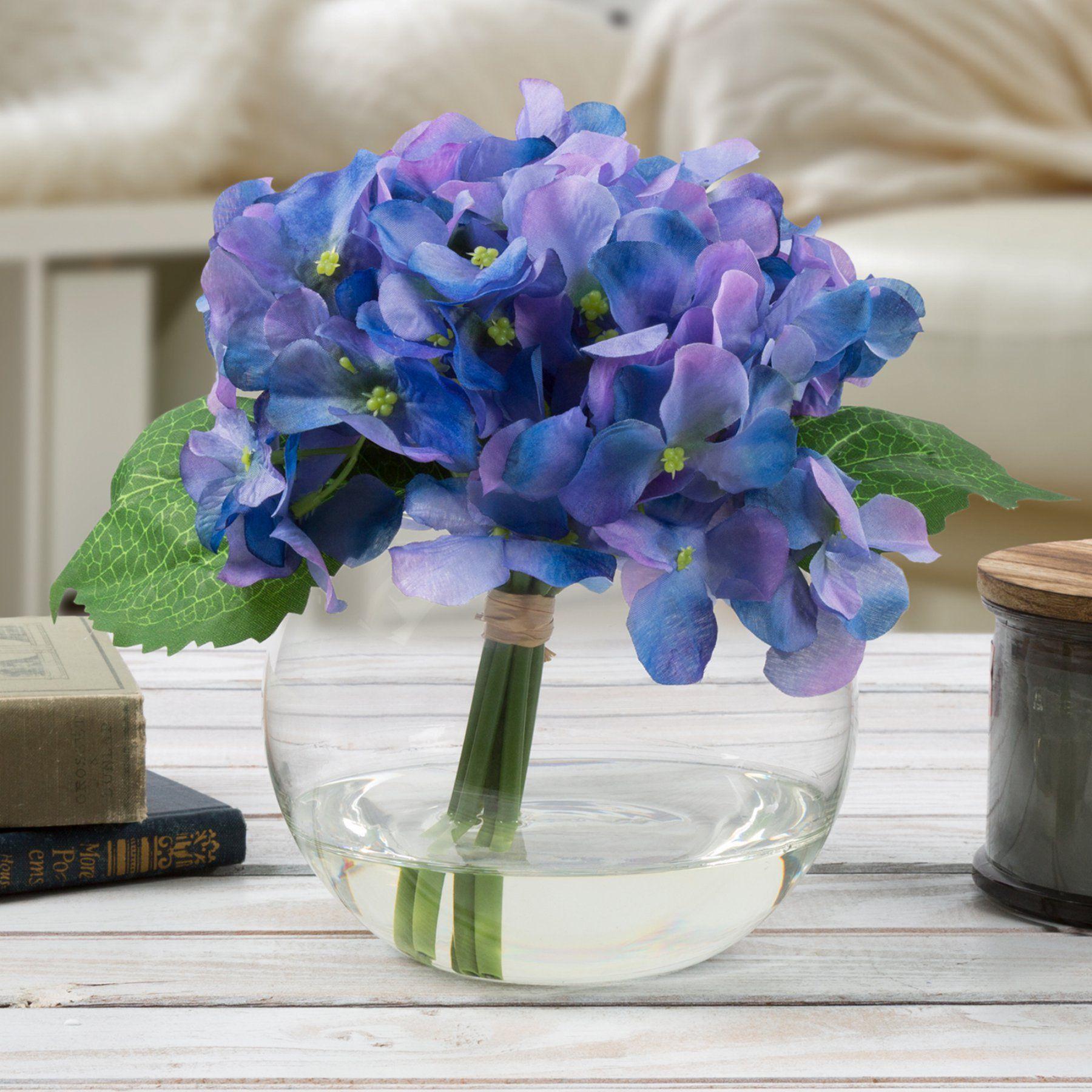 Pure Garden Hydrangea Artificial Floral Arrangement With Vase  Hw1500019