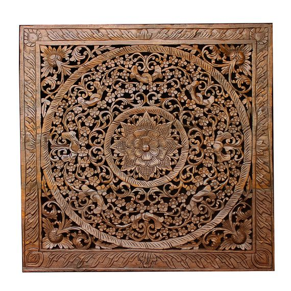 Balinese Carved Wood Wall Art Sculpture Panel. Lotus ...