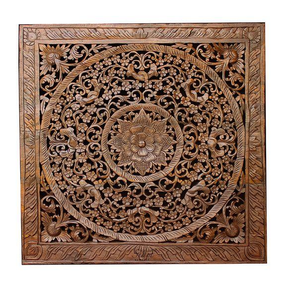 Balinese Carved Wood Wall Art Sculpture Panel. Lotus ...