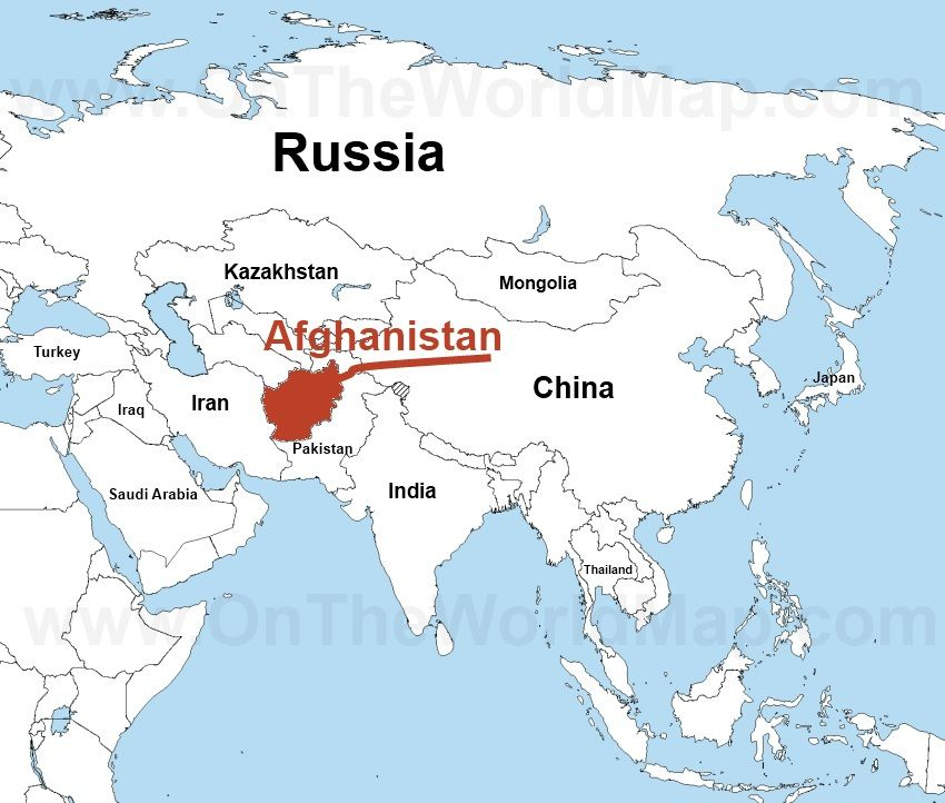 Map showing location of Afghanistan in Asia | Map, Japan ... on israel on map, yemen on map, iran on map, lebanon map, sudan on map, egypt on map, himalayas on map, congo on map, malaysia on map, north korea on map, mongolia on map, bangladesh on map, bhutan on map, indonesia on map, pakistan on map, thailand on map, nepal on map, armenia on map, the arabian sea on map, kuwait on map,