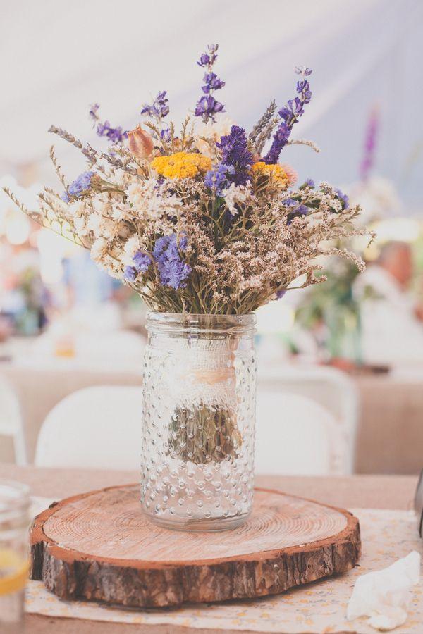 rustic reception flowers | Photo by J & E Fusion Photography, Wedding Planning by Tara McFadyen, Dried Flower Bouquets by Yvonne Gorman
