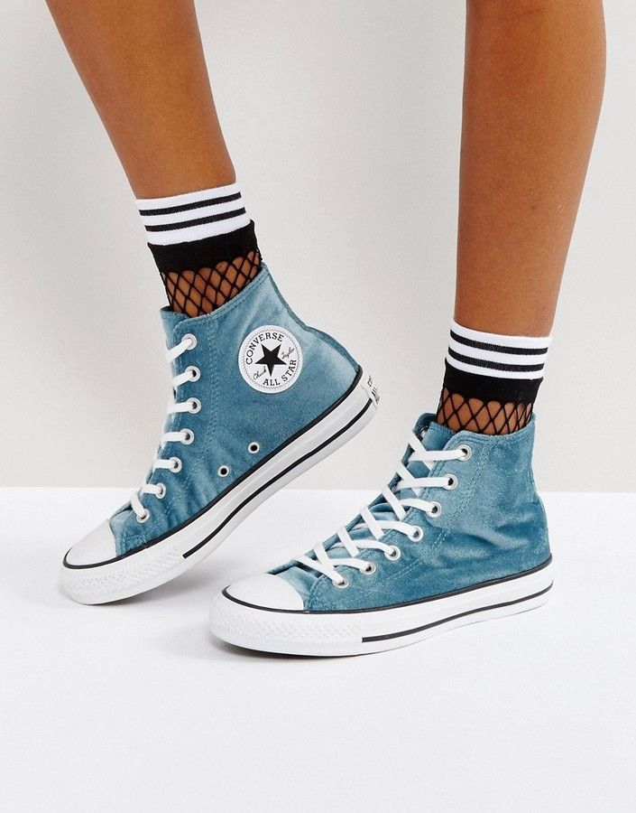 Converse Chuck Taylor All Star Velvet Hi Top Sneakers In Teal ... f3b1b7eec76