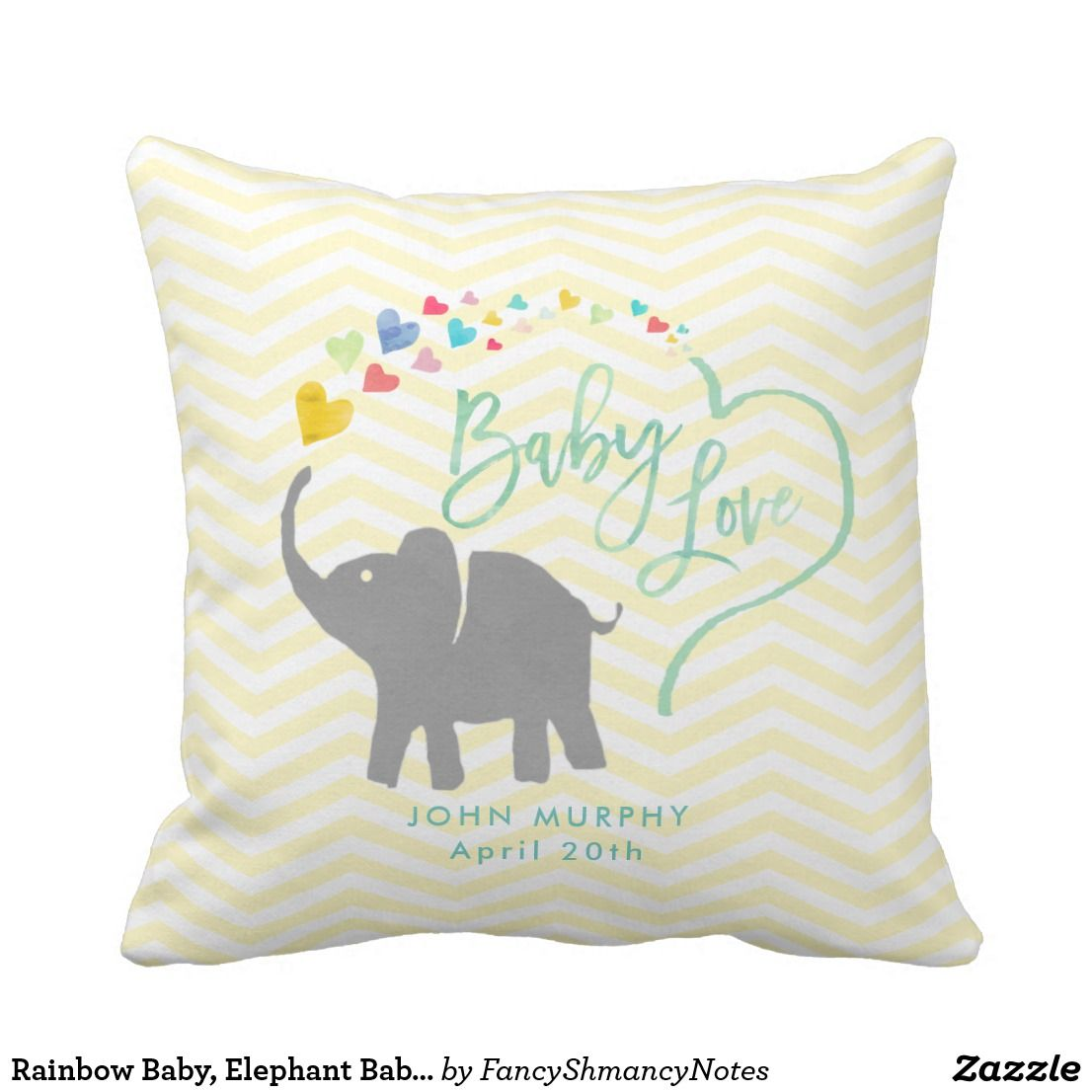 Rainbow Baby, Elephant Baby Love Throw Pillow