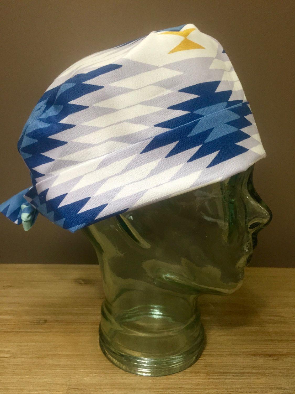 Blue & White Aztec Pattern Surgical Scrub Hat, Women\'s Tribal Print ...