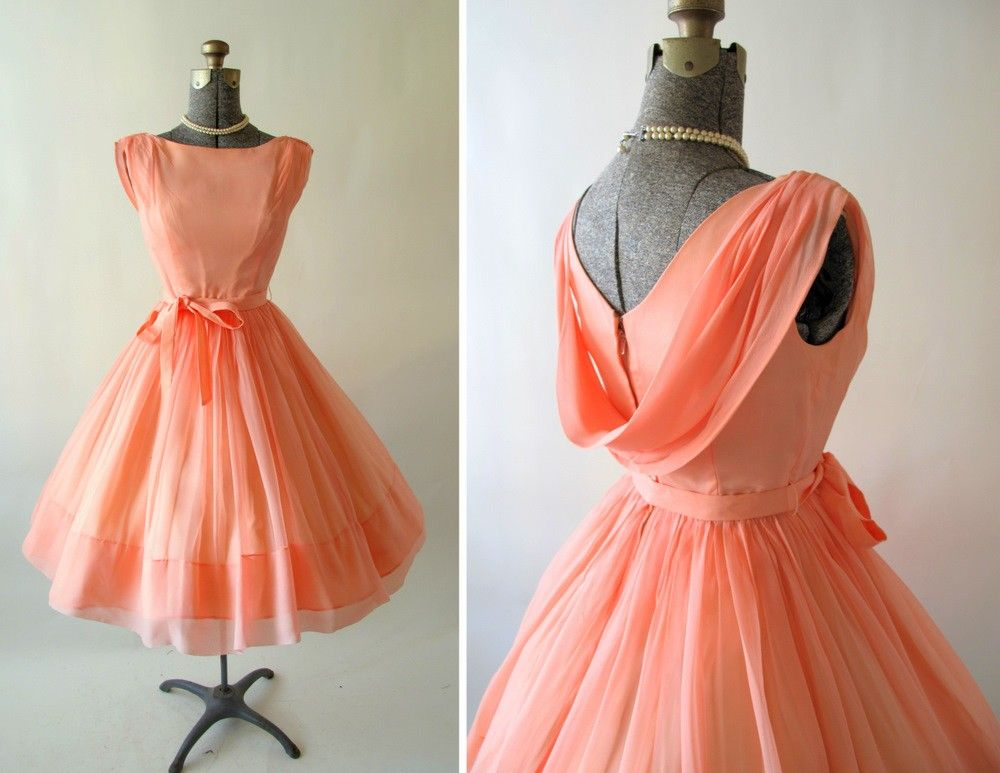 Vintage 1950s 60s Georgia Peach Cocktail Dress | 1950s, Peach and ...