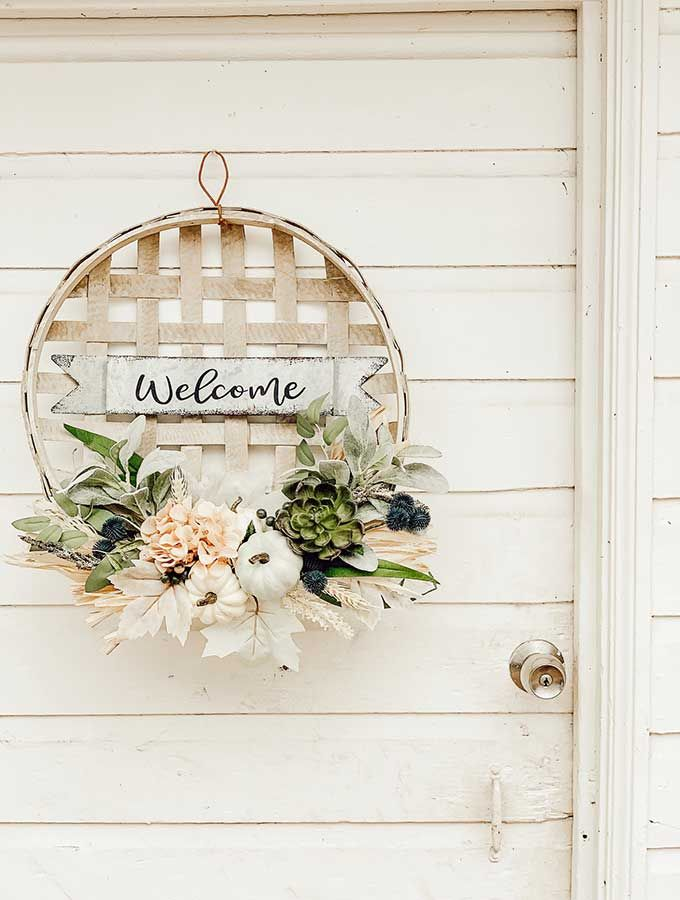 Photo of Tobacco Basket Wall Hanging with Flowers – Hallstrom Home