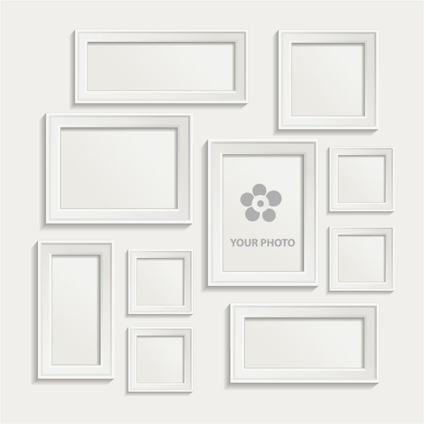 white photo frame set 02 vector - White Picture Frame Set