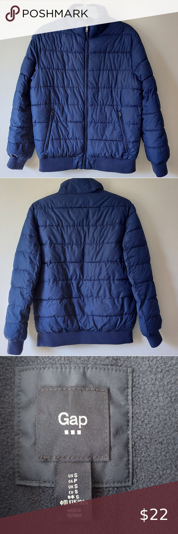 Gap Navy Blue Puffer Jacket Navy Blue Puffer Coat With An Elastic Waist Bomber Style Two Front Pockets Fleece Line Blue Puffer Jacket Jackets Puffer Jackets [ 1740 x 580 Pixel ]