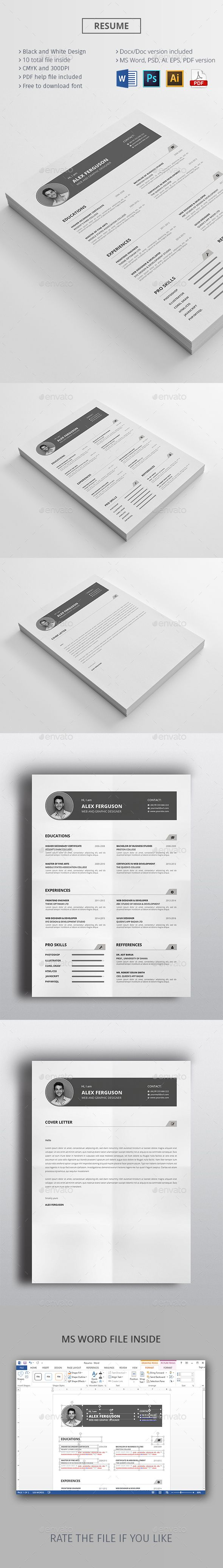 this premium resume cv belongs ms word  ai  eps  psd  pdf