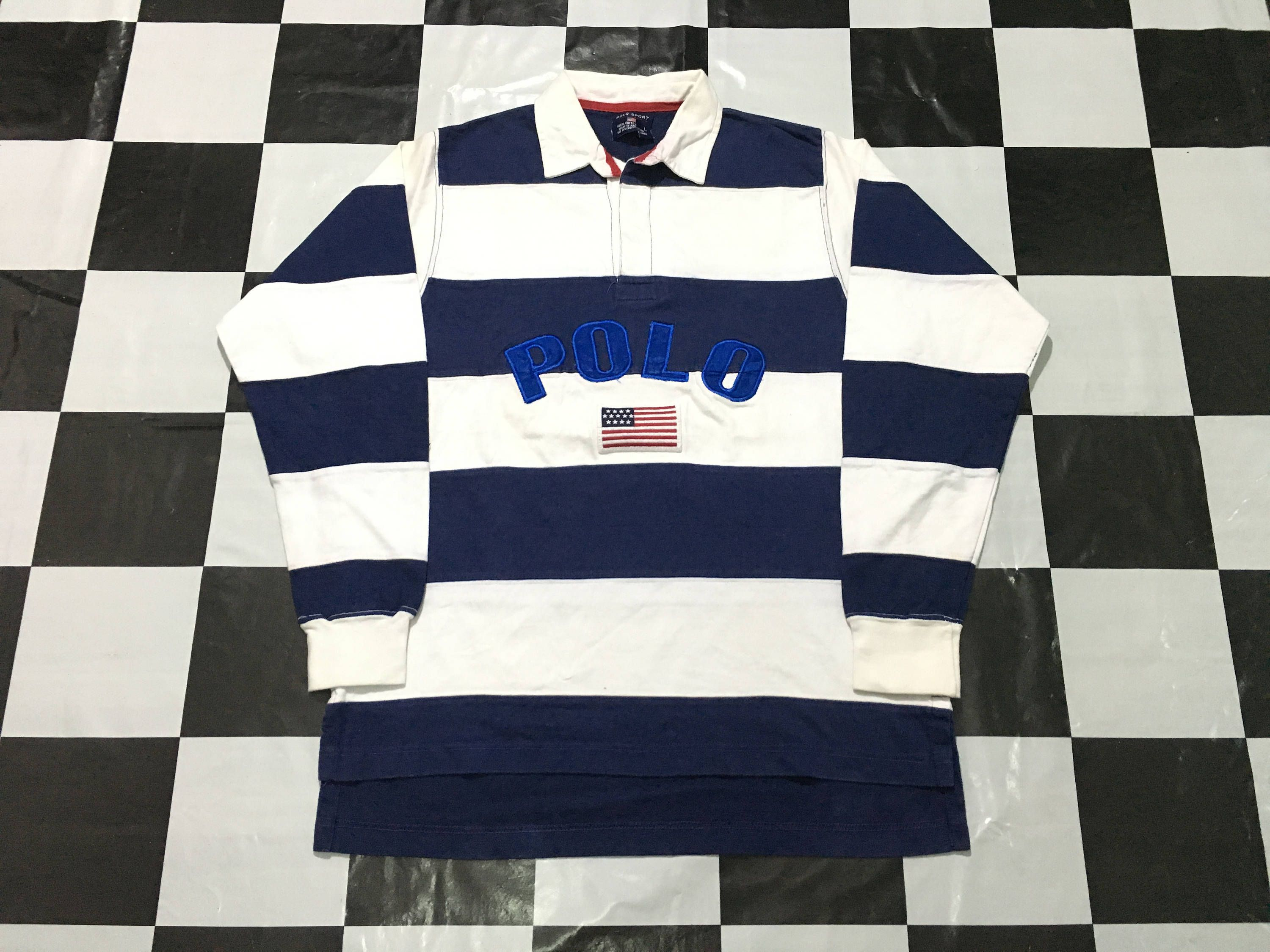 59b2b6a5ff6 Vintage Polo sport rugby shirt striped long sleeve spell out embroidered  flag logo Size L by AlivevintageShop on Etsy