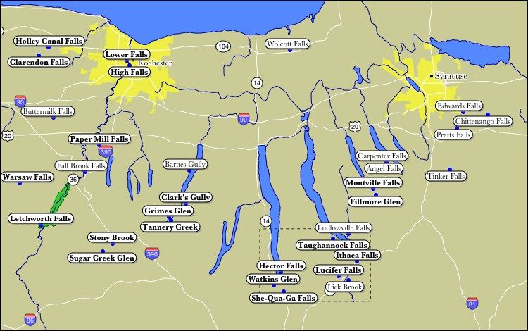 Finger Lakes Ny Map Map of WaterFalls of the Finger Lakes: not all are the visible  Finger Lakes Ny Map