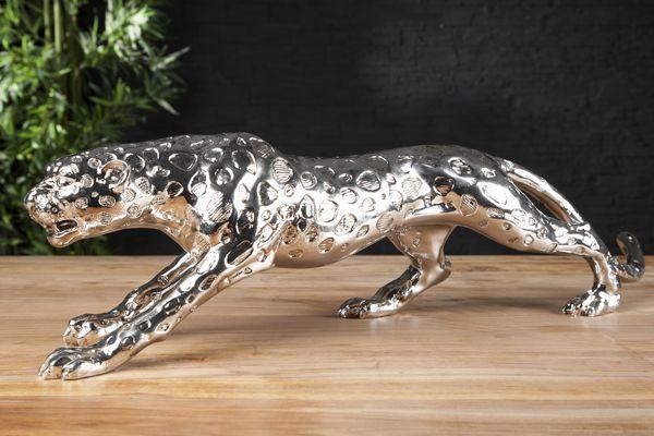 Riesige Design Skulptur Leopard 80cm Silber Figur Deko Accessoire