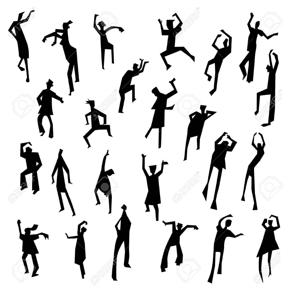People Figures In Motion Dancing People Set Cute Black Silhouettes Silhouette People Silhouette Drawing Silhouette Architecture
