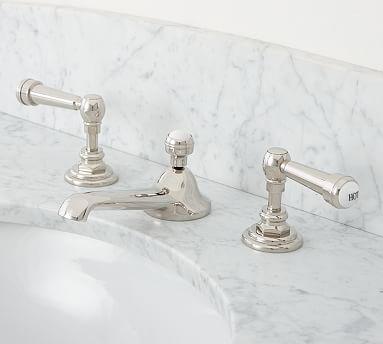 Reyes LeverHandle Widespread Bathroom Faucet Polished Nickel - Nickel finish bathroom faucets