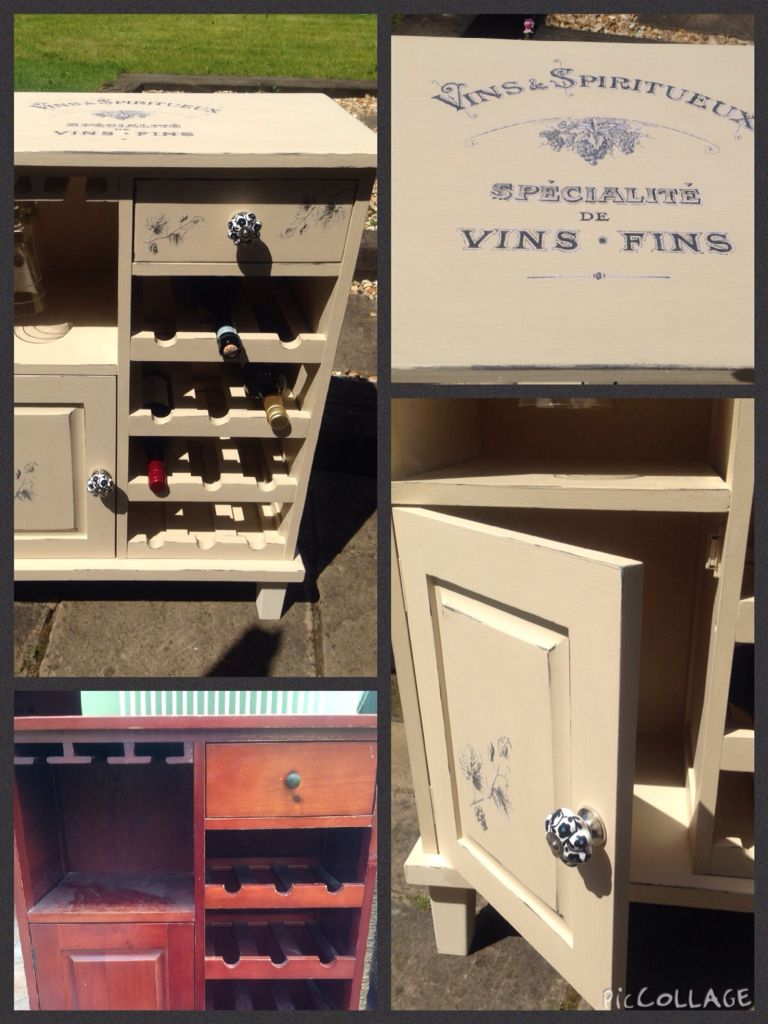 Wine cabinet in as old ochre with wine themed image transfer and new