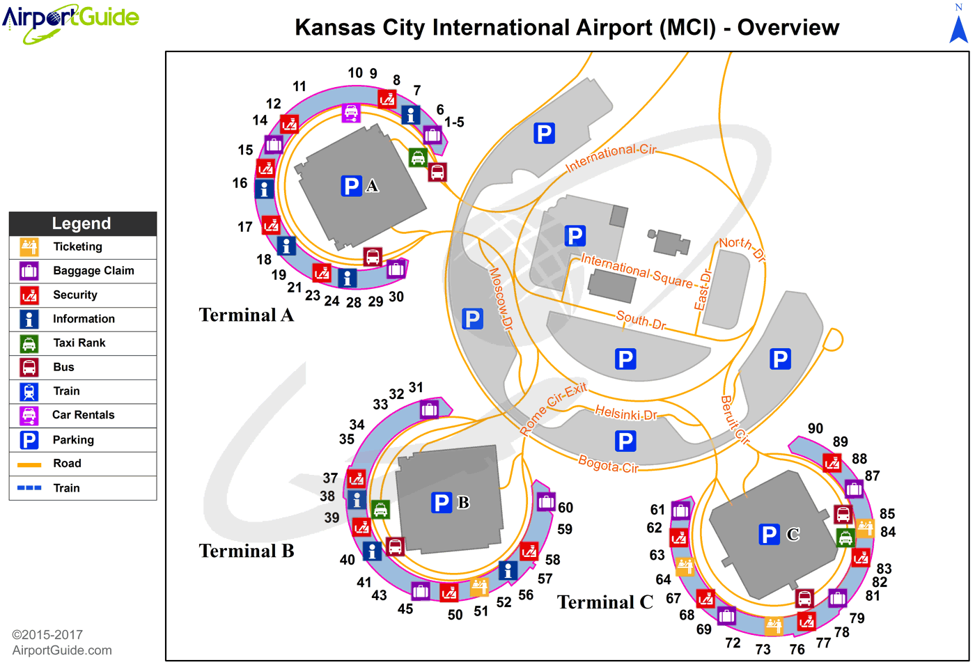 Kansas City Airport Map Kansas City   Kansas City International (MCI) Airport Terminal Map