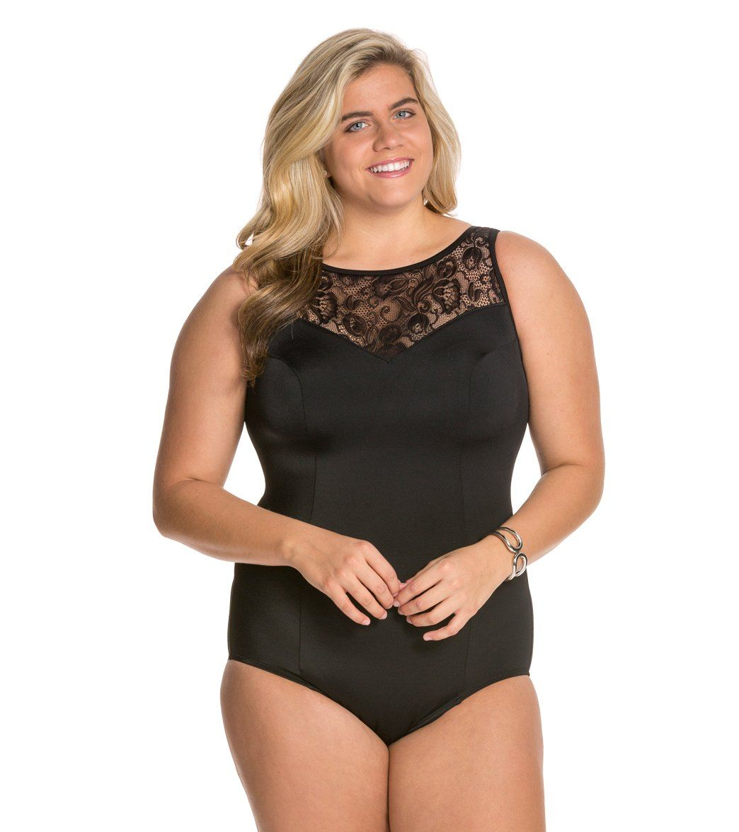 ddb648445c0 Longitude Plus Size Sheer Love Highneck One Piece Swimsuit at SwimOutlet.com  - Free Shipping