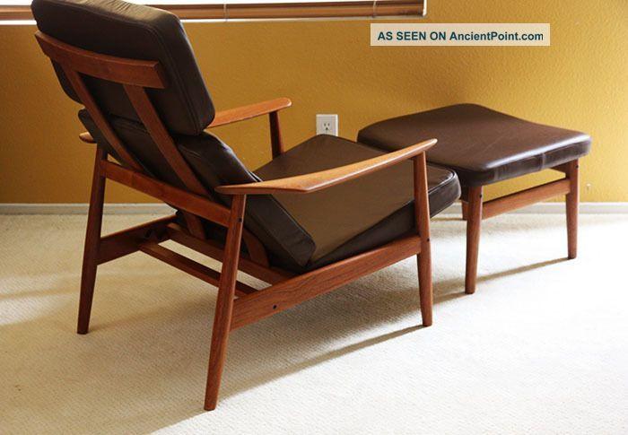 Arne Vodder Teak Lounge Chair Ottoman Danish Modern Mid