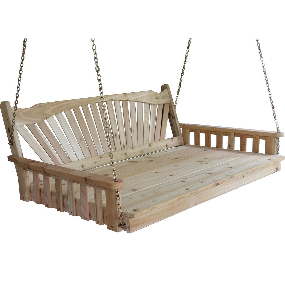 Pine fanback english swing bed swings outdoors and english