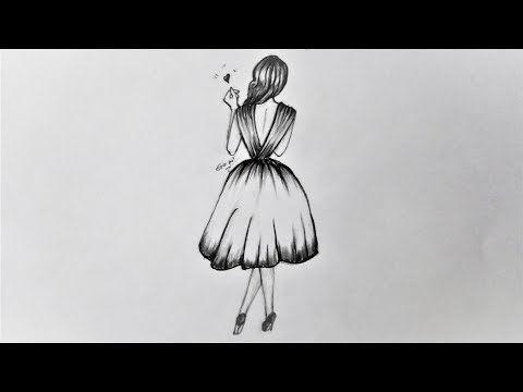 رسم سهل بالرصاص بنت ترتدى فستان خطوة بخطوة Youtube Girl Drawing Drawings Draw