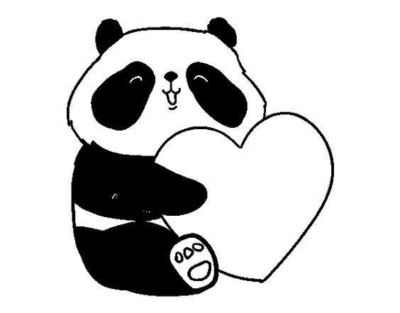 Dibujo de Amor Panda para Colorear: | Pandas | Pinterest