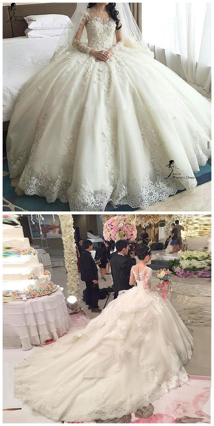 Long lace wedding dress  luxury wedding dressesWomenus Long Sleeve Lace wedding dressesBall