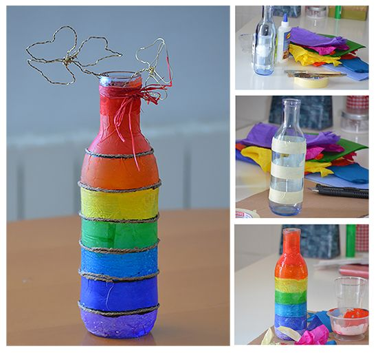Decorate A Glass Bottle Extraordinary Tutorial To Decorate A Plain Bottle With Coloured Tissue Paper Design Decoration