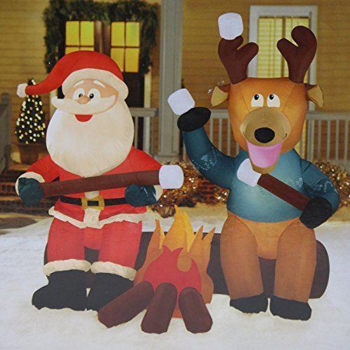 Gemmy Santa and Reindeer Camping Roasting Marshmallows Christmas - inflatable christmas yard decorations