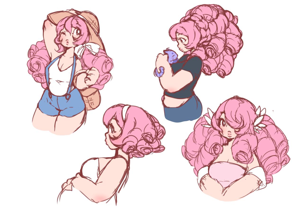 Rose Quartz Steven Universe Hair Template