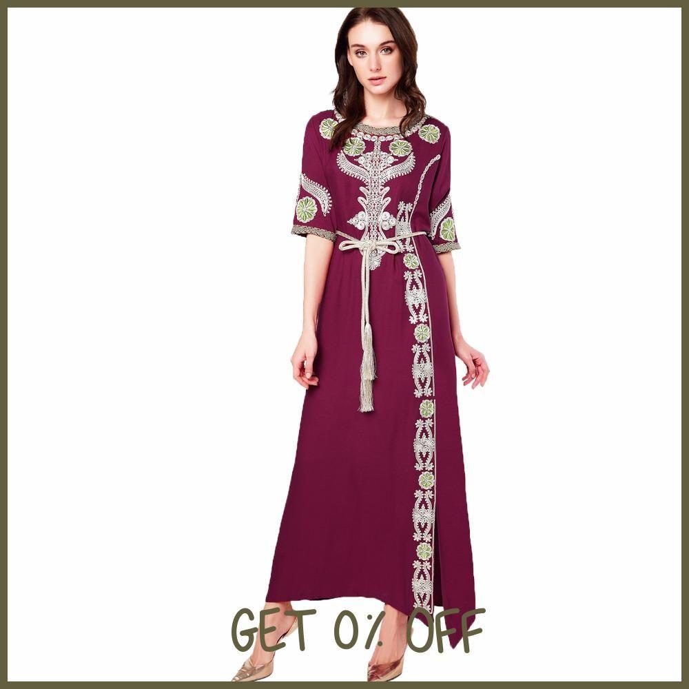 9b6c9acd62 Muslim women Long sleeve Dubai Dress maxi abaya jalabiya islamic clothing  robe Moroccan embroidery vintage dress