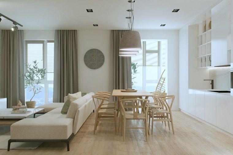 Arredare piccoli spazi, tavolo da pranzo di legno, divano ...