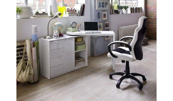 Bureau blanc laqué brillant avec table pivotante un bureau qui s