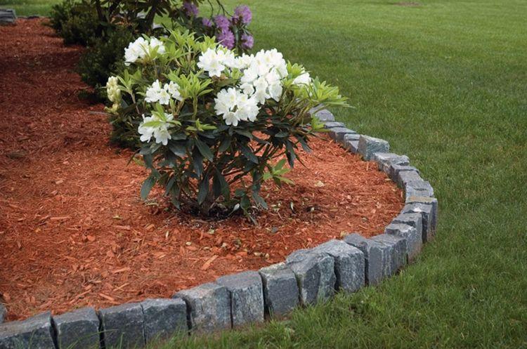 Rasenkante Garten Wiese Steine Rhododendron Outdoor Gestalten