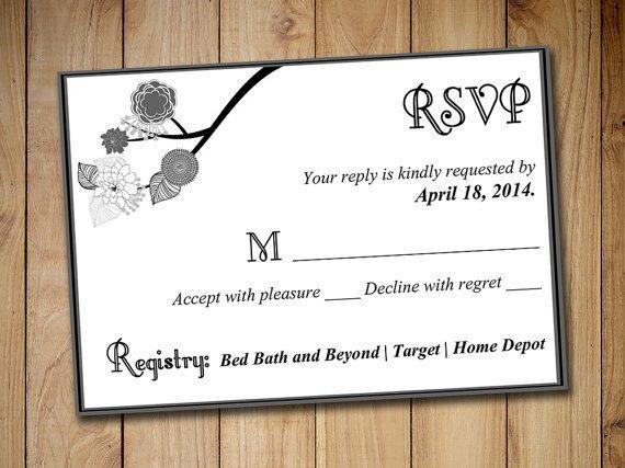 Wedding Response Card Template RSVP - Wedding Invitation Insert