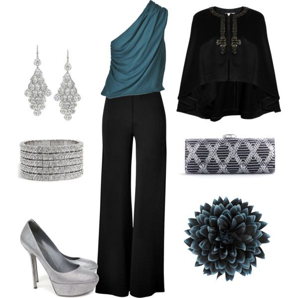 outfit for a high school reunion- this looks both sexy and elegant. I love the turquoise accents
