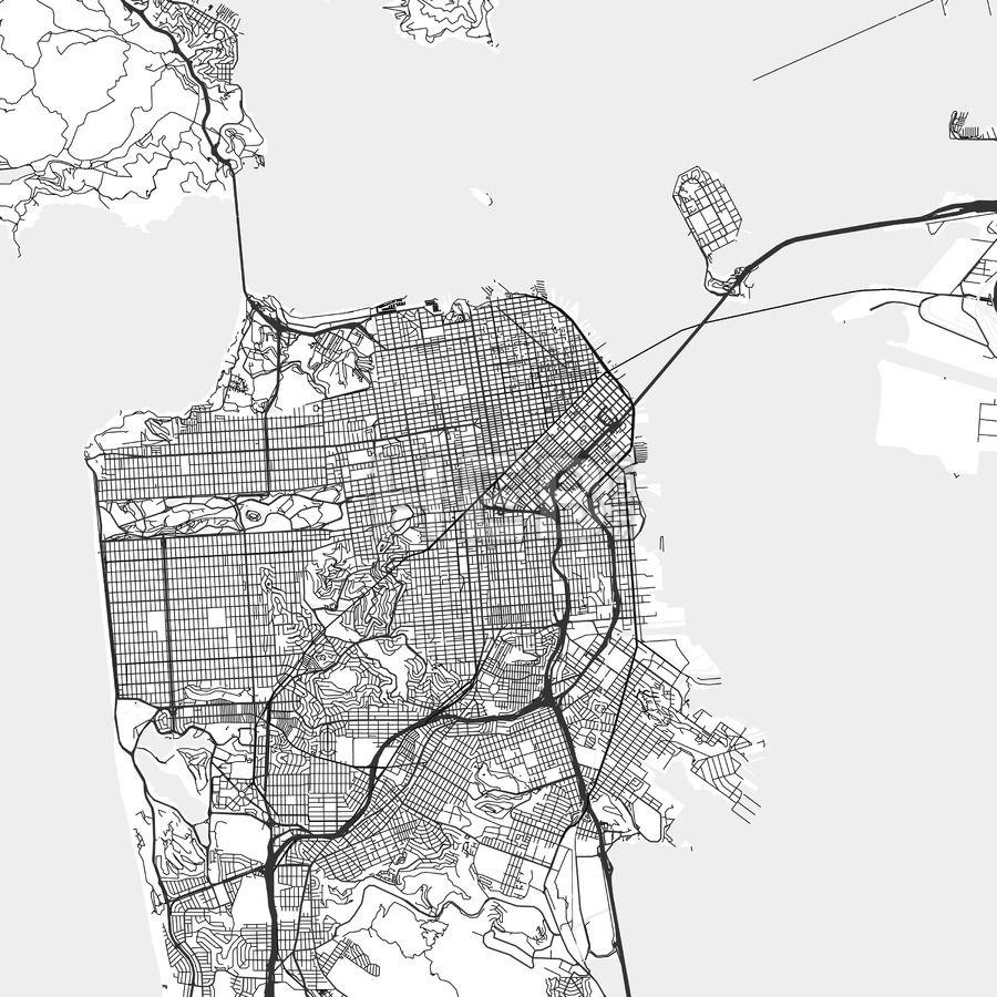 San Francisco, California - Area Map - Light | San francisco ...