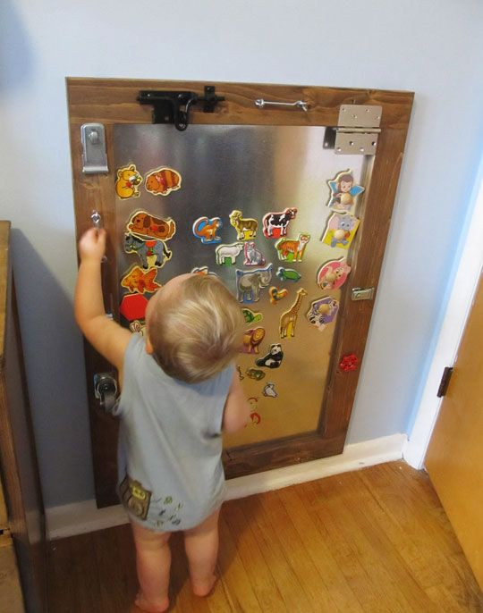 A Diy Magnetic Activity Board Kids Magnets Activity Board Toddler Activity Board