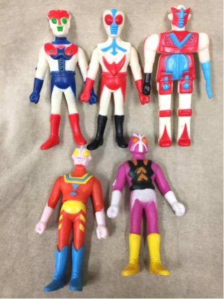 A 当時物 パチモノ ソフビ★ ヒーロー ロボット 5個まとめて_画像1
