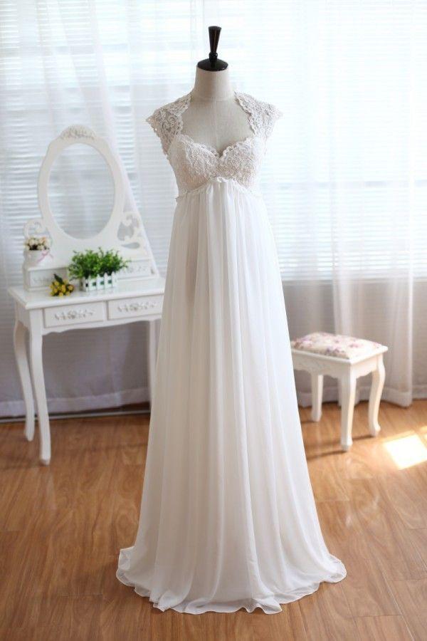 Lace Chiffon Wedding Dress Keyhole Back Empire Waist Maternity Dress With Cap Sleeves Empire Wedding Dress Pregnant Wedding Dress Wedding Dress Cap Sleeves