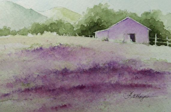 Lavender Field Original Watercolor Painting Floral